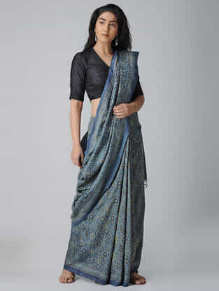 Blue-Ivory Ajrakh-printed Tussar-Mulberry Silk Saree
