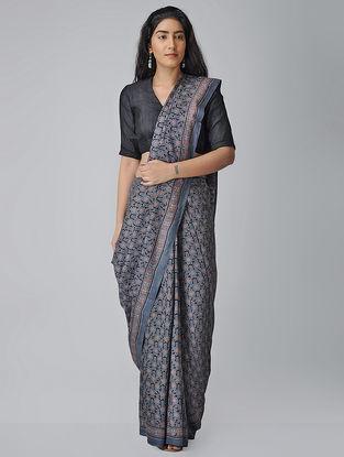 Blue-Black Ajrakh-printed Tussar-Mulberry Silk Saree