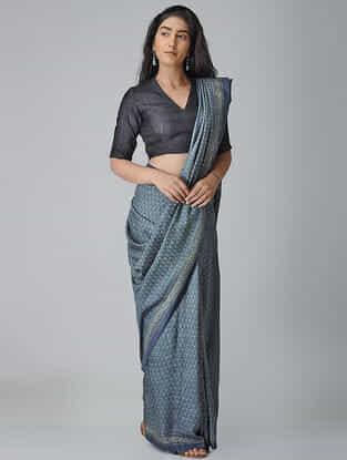 Blue-Beige Ajrakh-printed Tussar-Mulberry Silk Saree