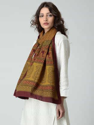 Yellow-Black Bagh-printed Cotton Stole