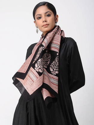 Ivory-Black Bagh-printed Silk Cotton Stole