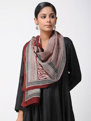 Red-Ivory Bagh-printed Silk Cotton Stole