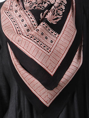 Black-Red Bagh-printed Silk Cotton Stole