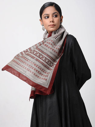 Ivory-Red Bagh-printed Silk Cotton Stole
