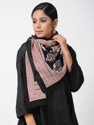 Black-Ivory Bagh-printed Silk Cotton Stole