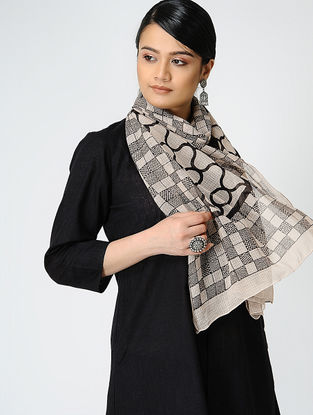 Black-Ivory Bagh-printed Kota Stole