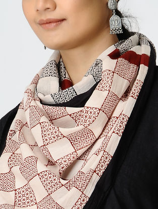 Madder-Black Bagh-printed Cotton Stole