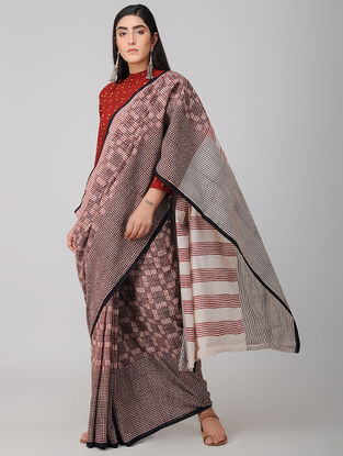 Madder-Black Bagh-printed Cotton Saree with Blouse Fabric