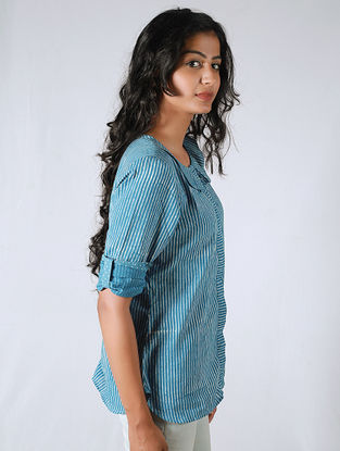 Blue-Ivory Pleated Striped Cotton Shirt