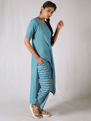 Blue-Ivory Cotton Kurta with Striped Pants(Set of 2)