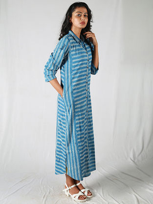 Blue-Ivory With Pocket Striped Cotton Kurta