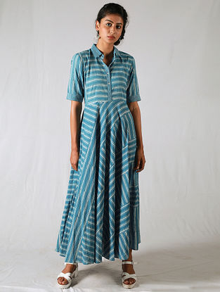 Blue-Ivory Striped Cotton Dress