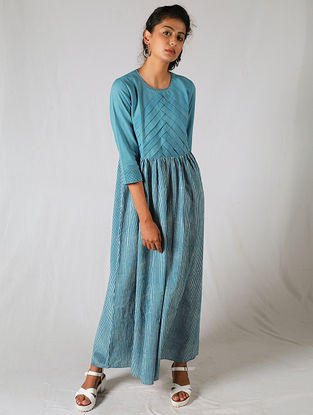 Blue-Ivory Pleated Striped Cotton Dress
