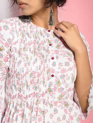 Ivory-Pink Pintuck Block-printed Cotton Dress