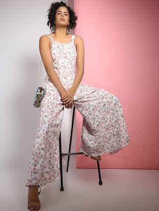 Ivory-Pink Block-printed Cotton Jumpsuit
