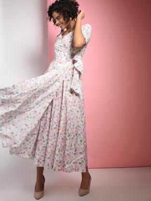 Ivory-Pink Block-printed Tie-up Cotton Dress