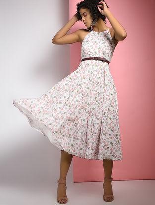 Ivory-Pink Block-printed Cotton Dress