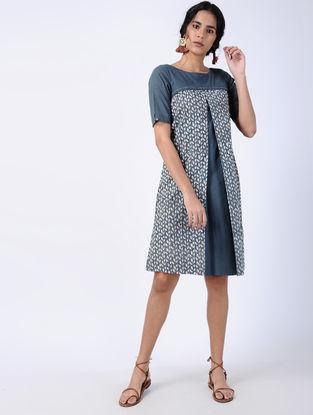 Blue Block-printed Cotton Dress with Box-pleats