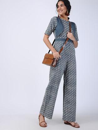 Blue Block-printed Cotton Jumpsuit