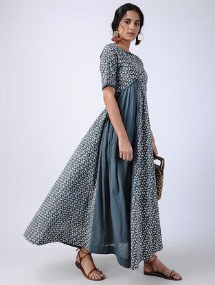 Blue Block-printed Pleated Cotton Maxi Dress