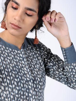 Blue Block-printed Cotton Maxi Dress