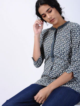 Blue Block-printed Cotton Tunic