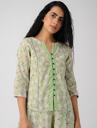 Green Block-printed Button-up Organic Cotton Top