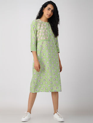 Green Block-printed Organic Cotton Dress
