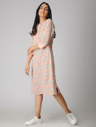 Peach Block-printed Organic Cotton Dress