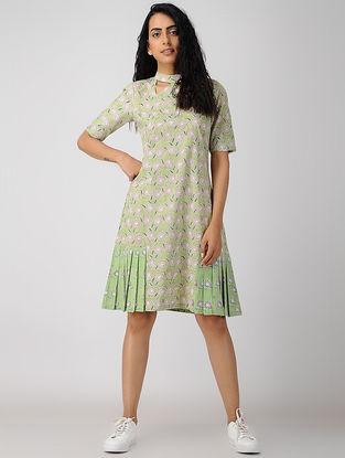 Green Block-printed Pleated Organic Cotton Dress