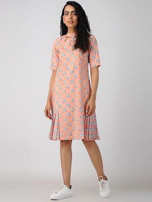 Peach Block-printed Pleated Organic Cotton Dress