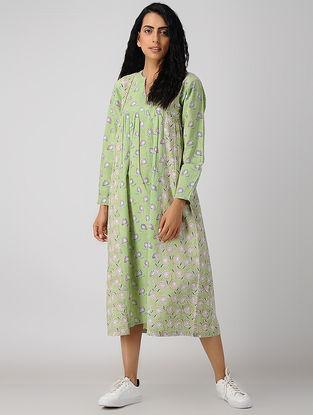 Green Block-printed Gathered Organic Cotton Dress