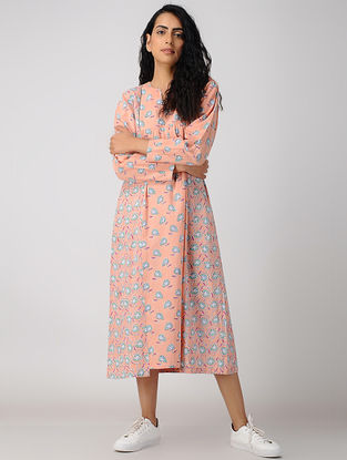 Peach Block-printed Gathered Organic Cotton Dress