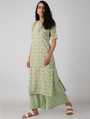 Green Block-printed Pleated-neck Organic Cotton Kurta