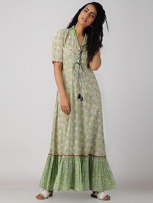 Green Block-printed Organic Cotton Maxi Dress