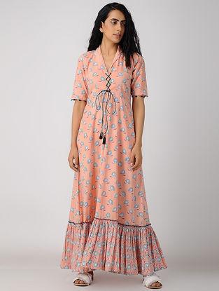 Peach Block-printed Organic Cotton Maxi Dress