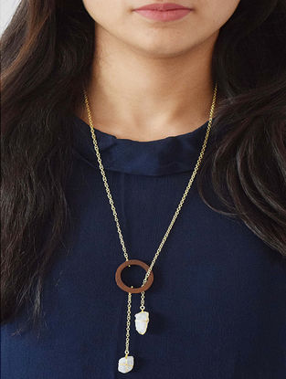 Brown Gold-plated Teak Wood Necklace