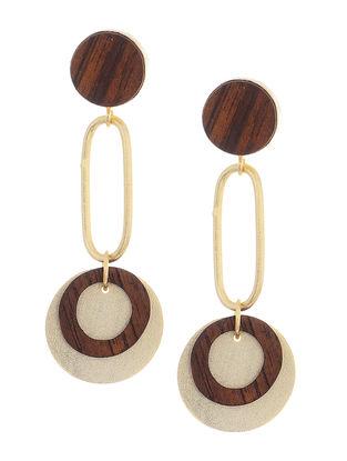 Brown Gold-Plated Teak Wood Earrings