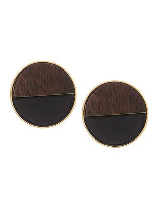 Brown Black Onyx Gold-Plated Teak Wood Stud Earrings