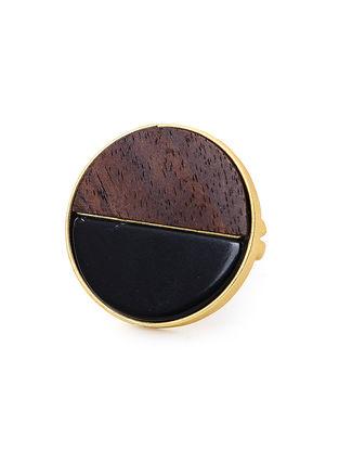 Brown Black Onyx Gold-Plated Teak Wood Ring
