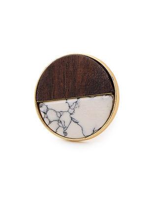 Brown White Dendrite Gold-Plated Teak Wood Ring