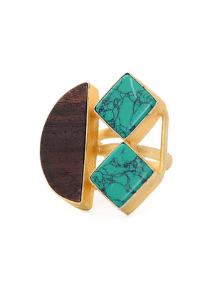 Brown Turquoise Gold-Plated Teak Wood Ring