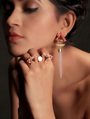 Pink-White Enamel Handcrafted 3D Cut Wood Adjustable Ring