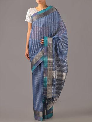 Slate Blue Maheshwari Silk Cotton Saree