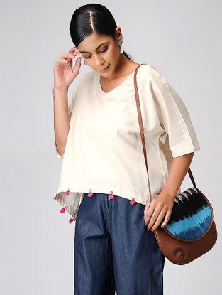 Ivory Cotton Top with Tassels