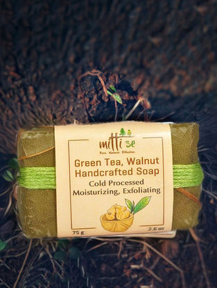 Green Tea & Walnut Bathing Soap - 75 Grams