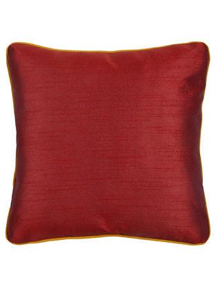 Maroon-Yellow Silk Cushion Cover 16in x 16in