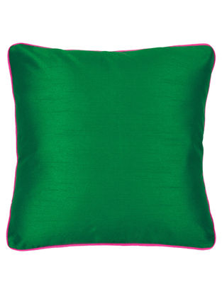 Green-Pink Silk Cushion Cover 16.2in x 16.2in