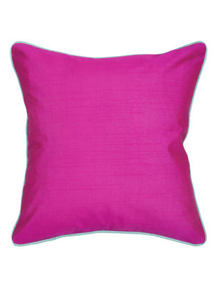 Pink-Light Blue Silk Cushion Cover 16.2in x 16.2in