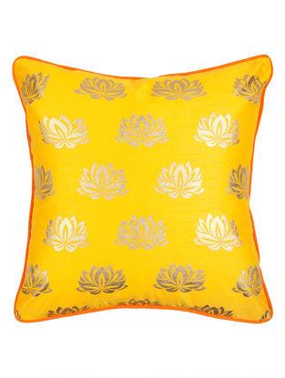 Yellow-Orange  Foil Print Silk Cushion Cover 16.2in x 16.2in